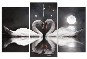 Tranh đồng hồ đôi thiên nga TY0104