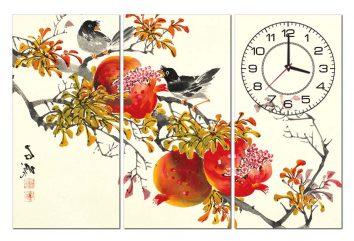 Tranh đồng hồ chim lựu PT0108