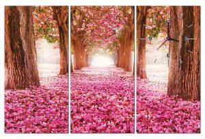 Tranh đồng hồ hàng cây hoa đào TN0121