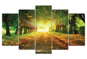 Tranh đồng hồ hàng cây nắng vàng TN0101