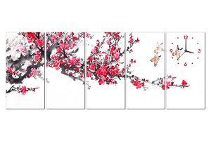Tranh đồng hồ hoa đào HL0116