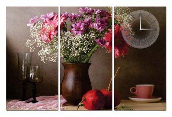 Tranh đồng hồ hoa lá HL0134