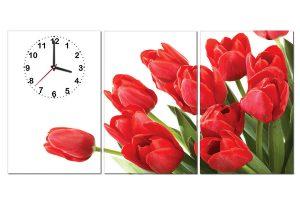 Tranh đồng hồ hoa tulip đỏ HL0127