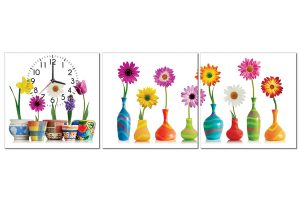 Tranh đồng hồ những lọ hoa HL0136
