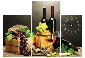 Tranh đồng hồ phòng ăn rượu vang PA0105