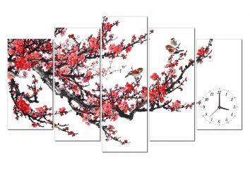 tranh đồng hồ hoa đào HL0115