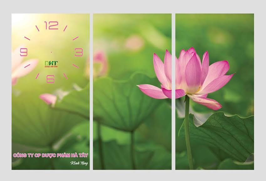 3tranh đồng hồ hoa sen