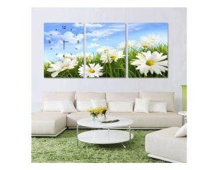 Tranh đồng hồ vườn hoa cúc HL045