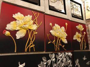 Tranh phù điêu hoa mai vàng