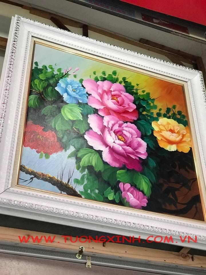 tranh son dau hoa lá