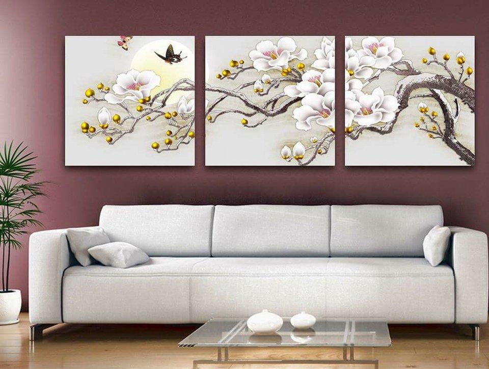 Tranh treo tường hoa mộc lan trắng HL556 - TƯỜNG XINH