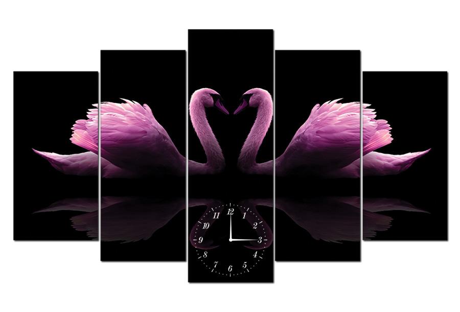 Tranh-đồng-hồ-đôi-thiên-nga-tím-TY0101